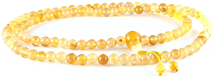 Yellow Jade Mala (Rosary) of 108 Beads for Chanting