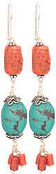 Turquoise and Coral Earrings