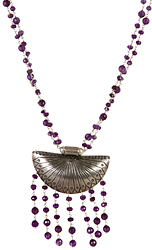 Faceted Amethyst Beaded Necklace with Shell Pendant