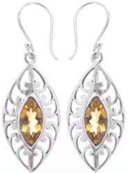 Faceted Citrine Marquis Earrings
