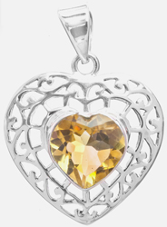 Faceted Citrine Heart-Shape Pendant
