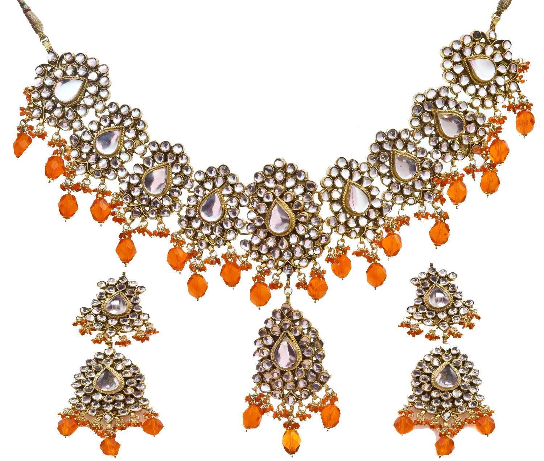 Kanjivaram Beads: Kundan Necklace Set With Orange Beads