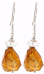 Faceted Citrine Earrings with Crystal