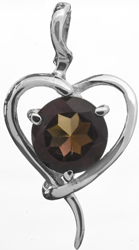 Sterling Heart-Shape Pendant with Faceted Gems