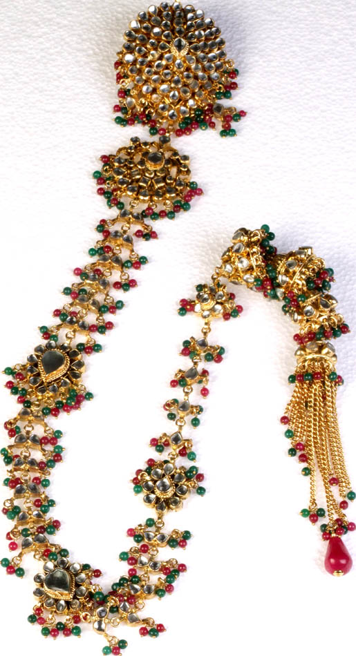 Bridal Kundan Hair-braid Ornament (Choti) with Faux Emerald and Rubies