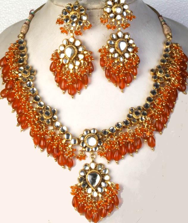Kanjivaram Beads: Bridal Kundan Necklace Set With Orange Glass Beads
