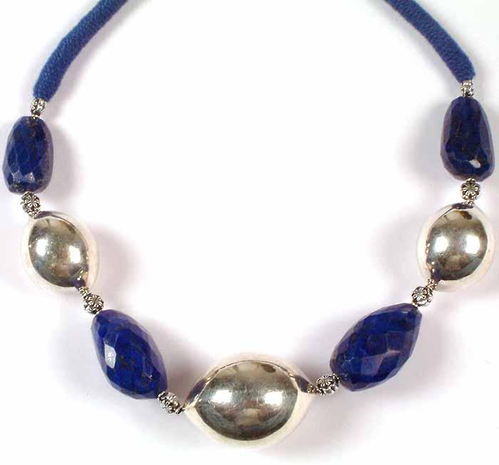 Kanjivaram Beads: Faceted Lapis Lazuli Necklace With Sterling Beads