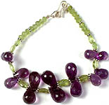 Faceted Peridot Beaded Bracelet with Amethyst