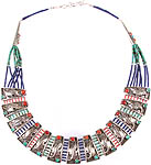 Gemstone Nepalese Necklace (Coral, Turquoise and Lapis Lazuli)