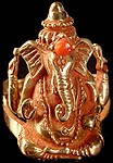 Lord Ganesha Finger Ring with Coral on Crest