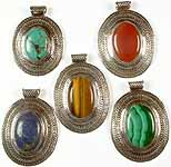 Lot of Five Oval Gemstone Pendants with Filigree<br>(Turquoise, Carnelian, Tiger Eye, Lapis Lazuli & Malachite)