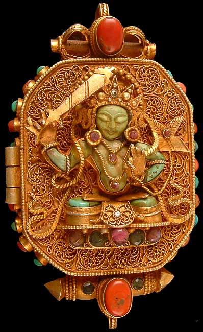 Manjushri Amp Avalokiteshvara Gold Plated Gau Box Pendant