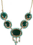 Navajo Antiquated Green Onyx Necklace with Turquoise with Centre Dangles