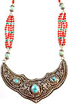 Nepalese Necklace with Turquoise and Coral