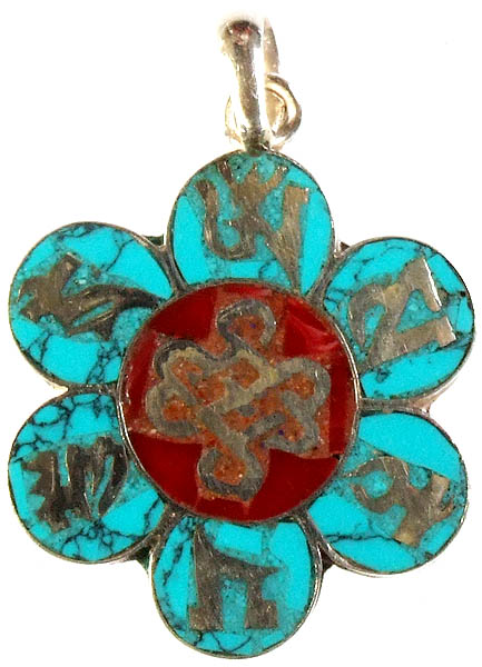 Om Mani Padme Hum Inlay Pendant with Endless Knot (Ashtamangala)