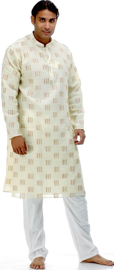 Light Yellow Kurta Pajama With Multi Color Thread Weave