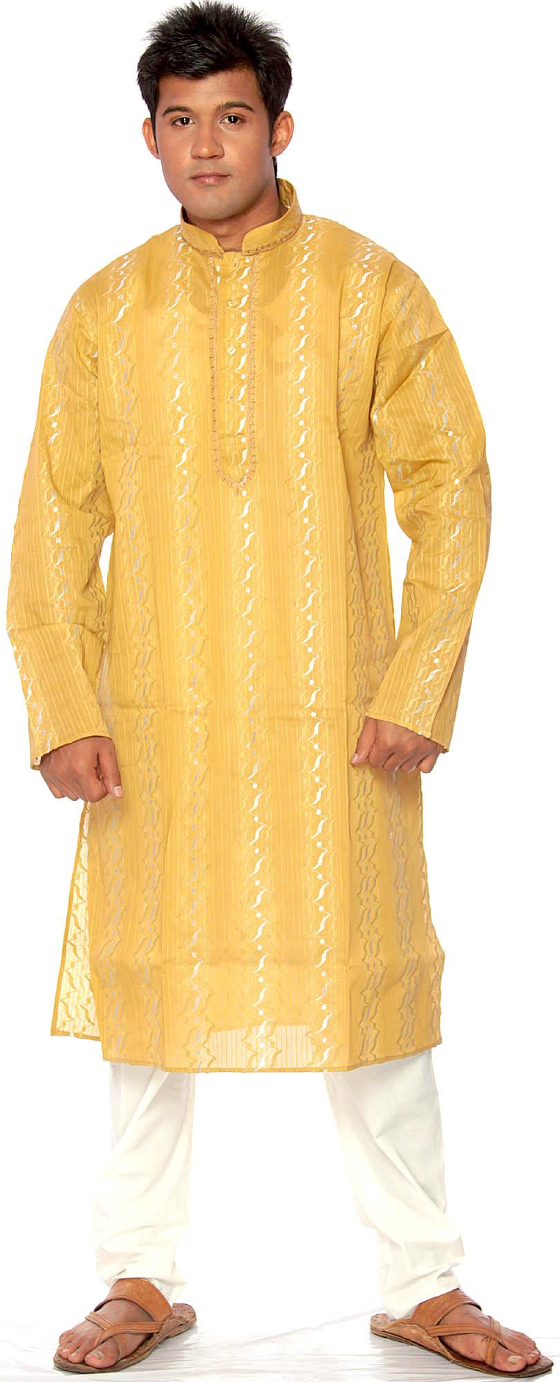 mustardyellow kurta pajama with thread weave and