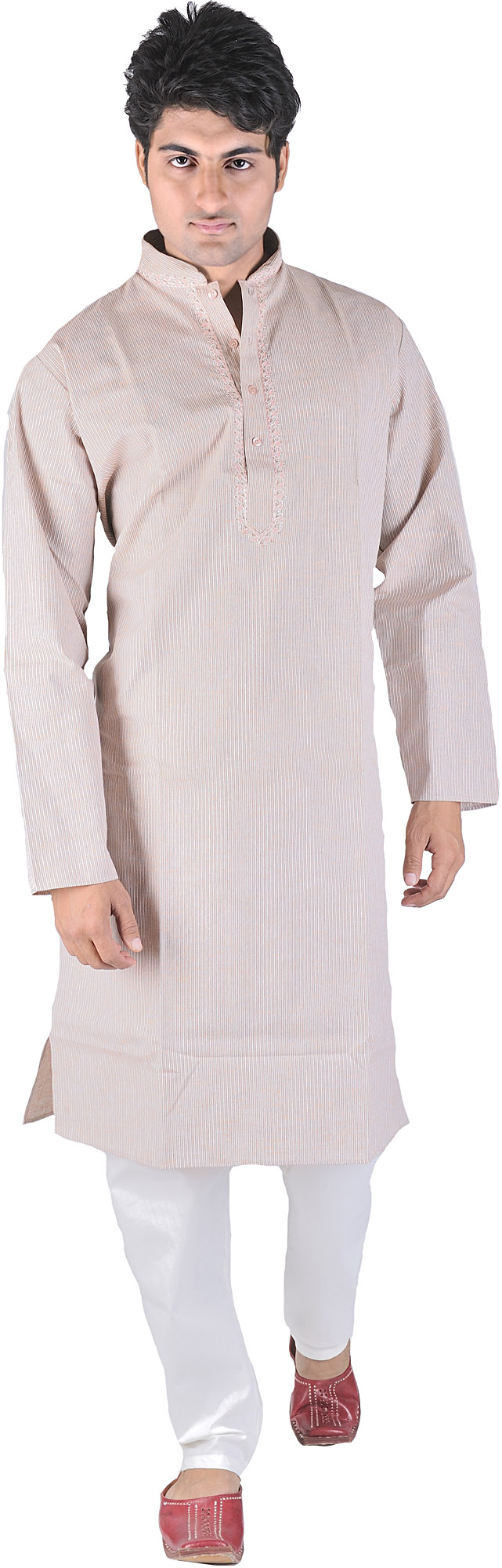 Exotic India Coral-Pink Kurta Pajama with Fine Woven St