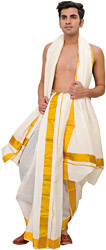 Snow-White Ready to Wear Dhoti and Veshti Set from Kerala with Wide Golden Border