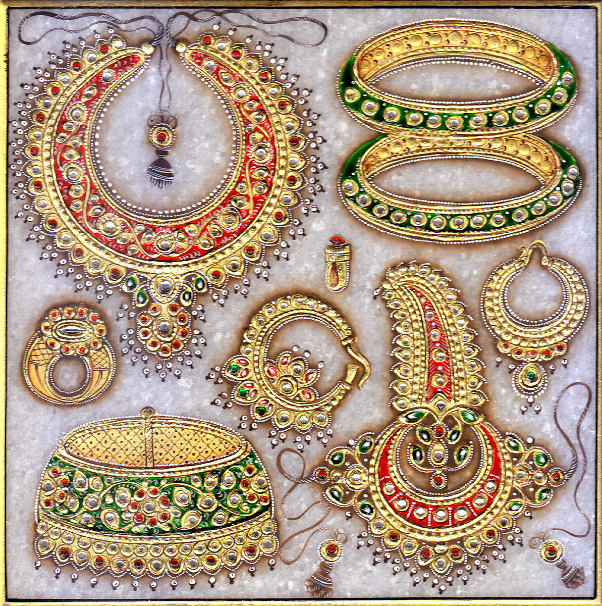 Superfine Embossed Jewelry Of Rajasthan With Box