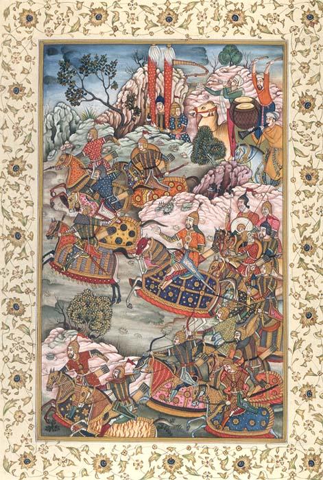 Battle With The Hazars From The Baburnama
