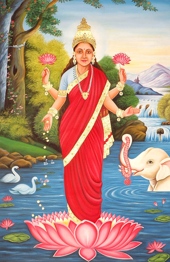 Goddess Lakshmi With Auspicious Elephant