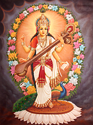 Four Armed Goddess Saraswati Wearing Sari