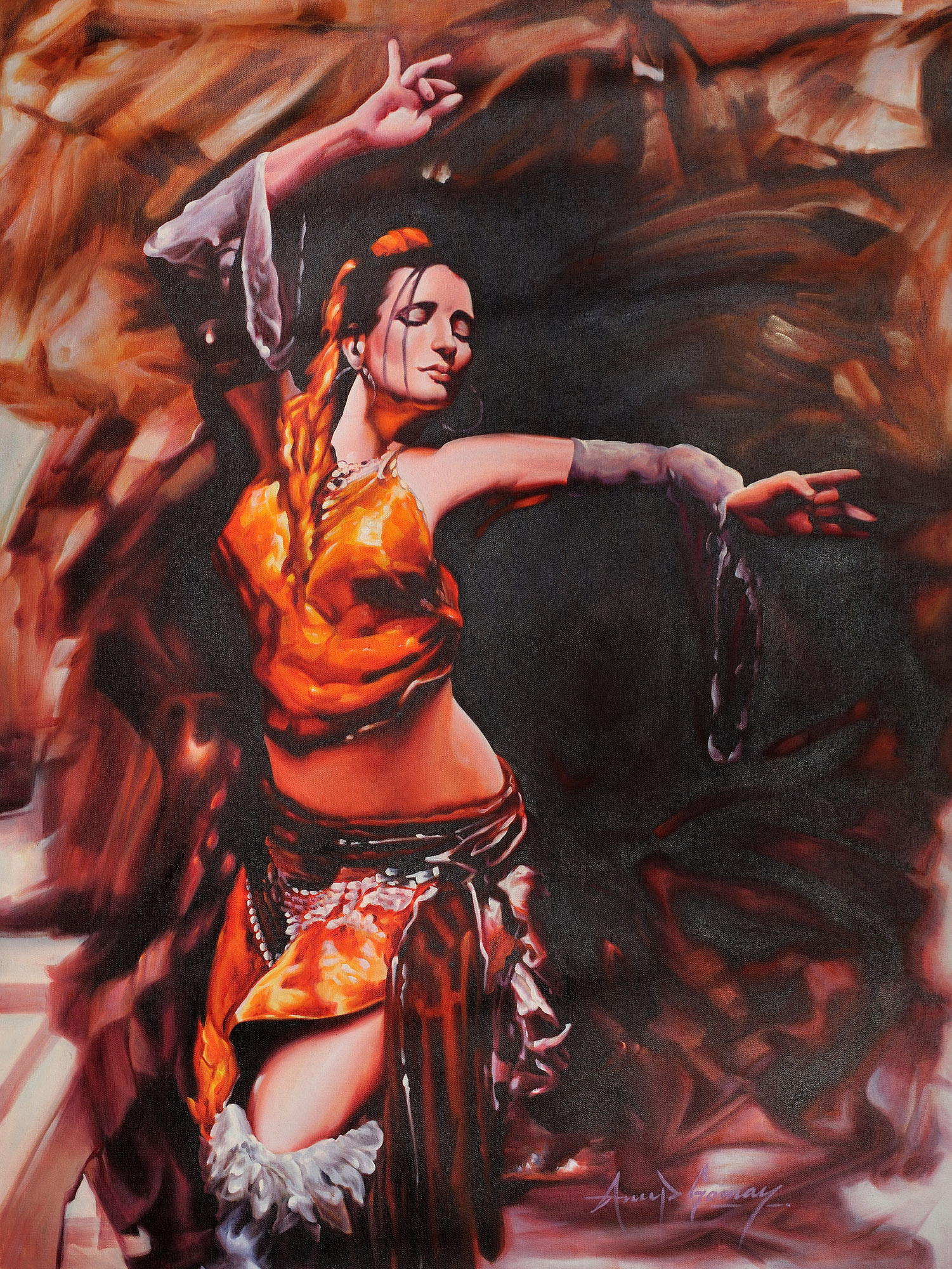 The Ecstatic Dancer for Abstract Painting Of Indian Dancers  588gtk