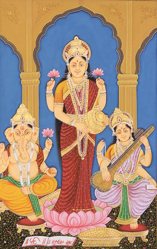 Shri Ganesha Lakshmi And Saraswati