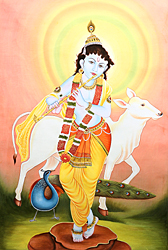 Murali Krishna with His Cow and Peacock