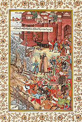 Akbar Restrains Hawaai, and Enraged Elephant, and Spectators