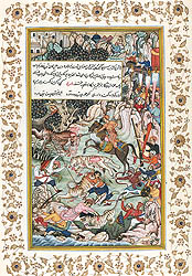 Akbar Slays Tigress Which Attacked the Royal Procession