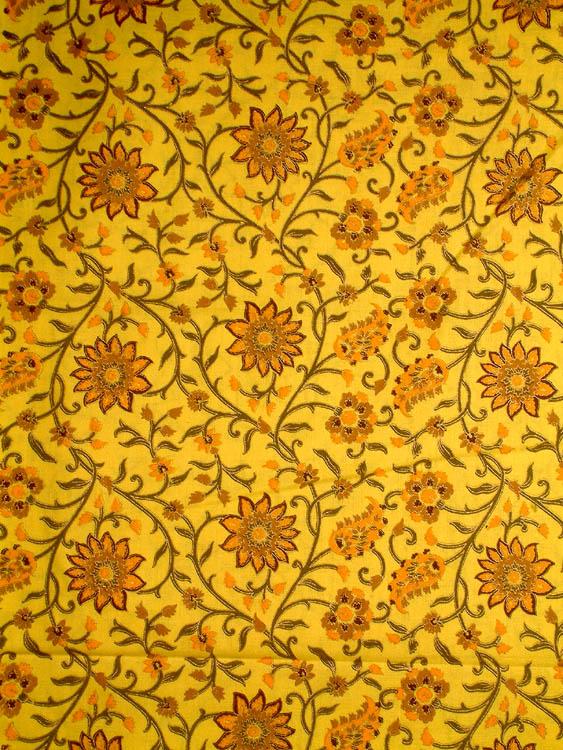 Block Printed Floral Khadi Fabric