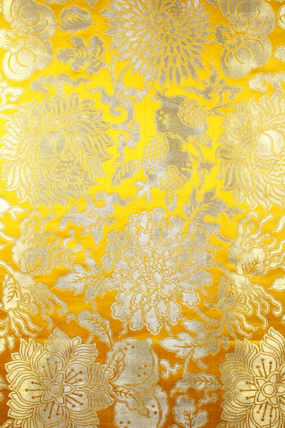 Golden Yellow Hand Woven Brocade With Large Flowers