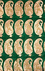 Green Banarasi Katan Georgette Fabric with Woven Paisleys in Golden Thread
