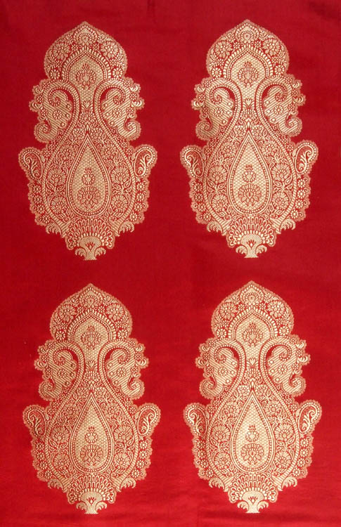 Red Banarasi Hand Woven Brocade Fabric With Auspicious Motif
