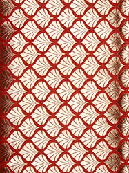 Red Katan Georgette Fabric from Banaras with Woven Leaves in Golden Thread