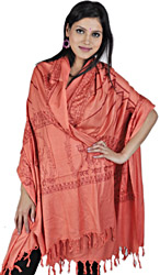 Saffron Hindu Prayer Shawl of Goddess Durga Maa