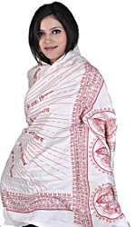 White Om Namah Shivai Prayer Shawl of Lord Shiva