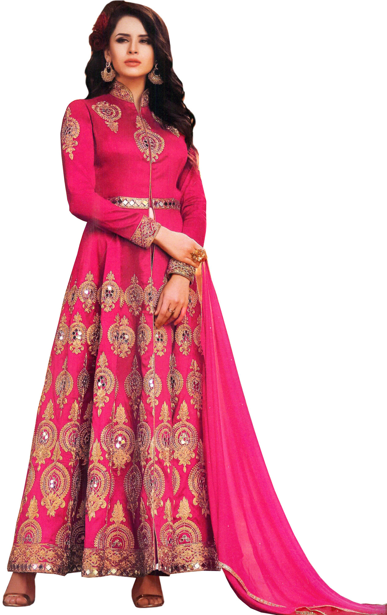 Virtual pink designer bridal suit with golden embroidery for Virtual suit builder
