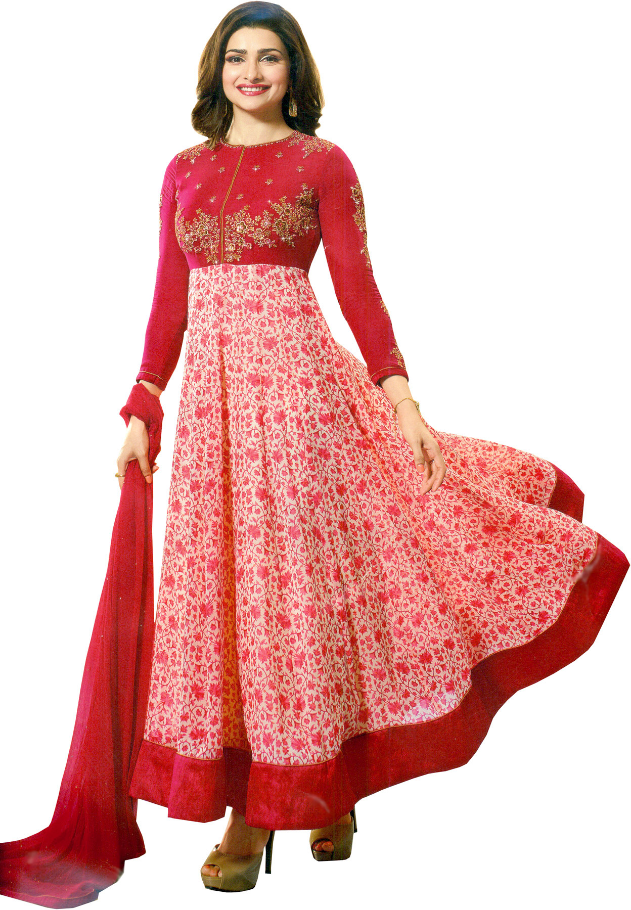 Virtual pink prachi designer anarkali suit with floral for Virtual suit builder