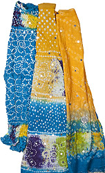 Amber and Blue Shaded Bandhani Lehenga Choli with Large Sequins