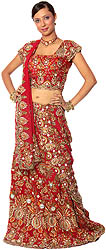 Heavy Zardozi Bridal Lehenga with Choli and Dupatta