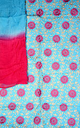 Sky-Blue Salwar Suit Fabric with All-Over Embroidered Wheels