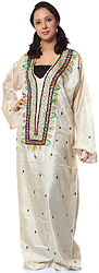 Beige Kashmiri Kaftan with Embroidery and Beadwork
