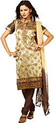Beige and Brown Brocaded Salwar Suit with Large Woven Bootis