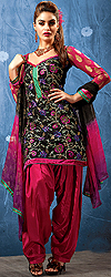 Black Patiala Salwar Kameez With Ari Embroidered Flowers and Velvet Border
