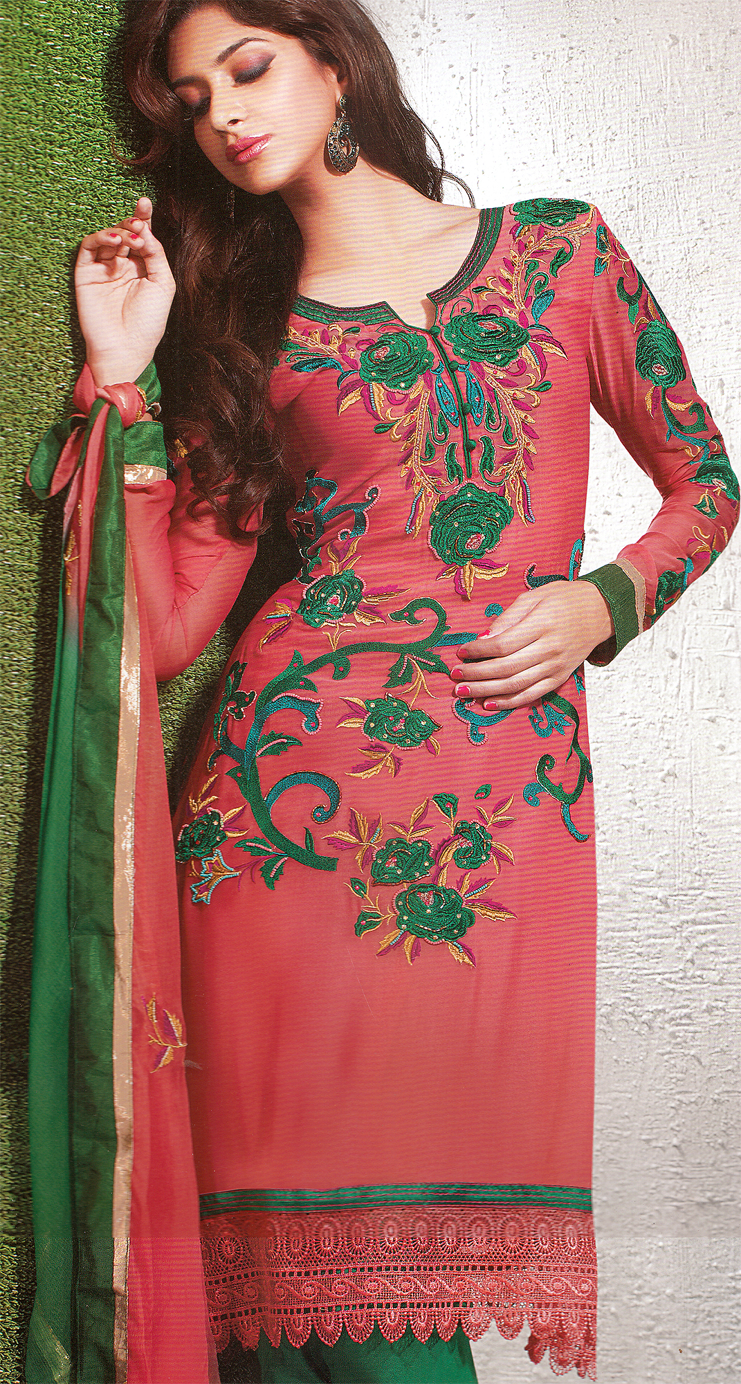 Cerise designer choodidaar suit with embroidered roses and