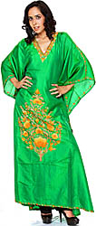 Fern-Green Kashmiri Kaftan with Embroidered Flowers