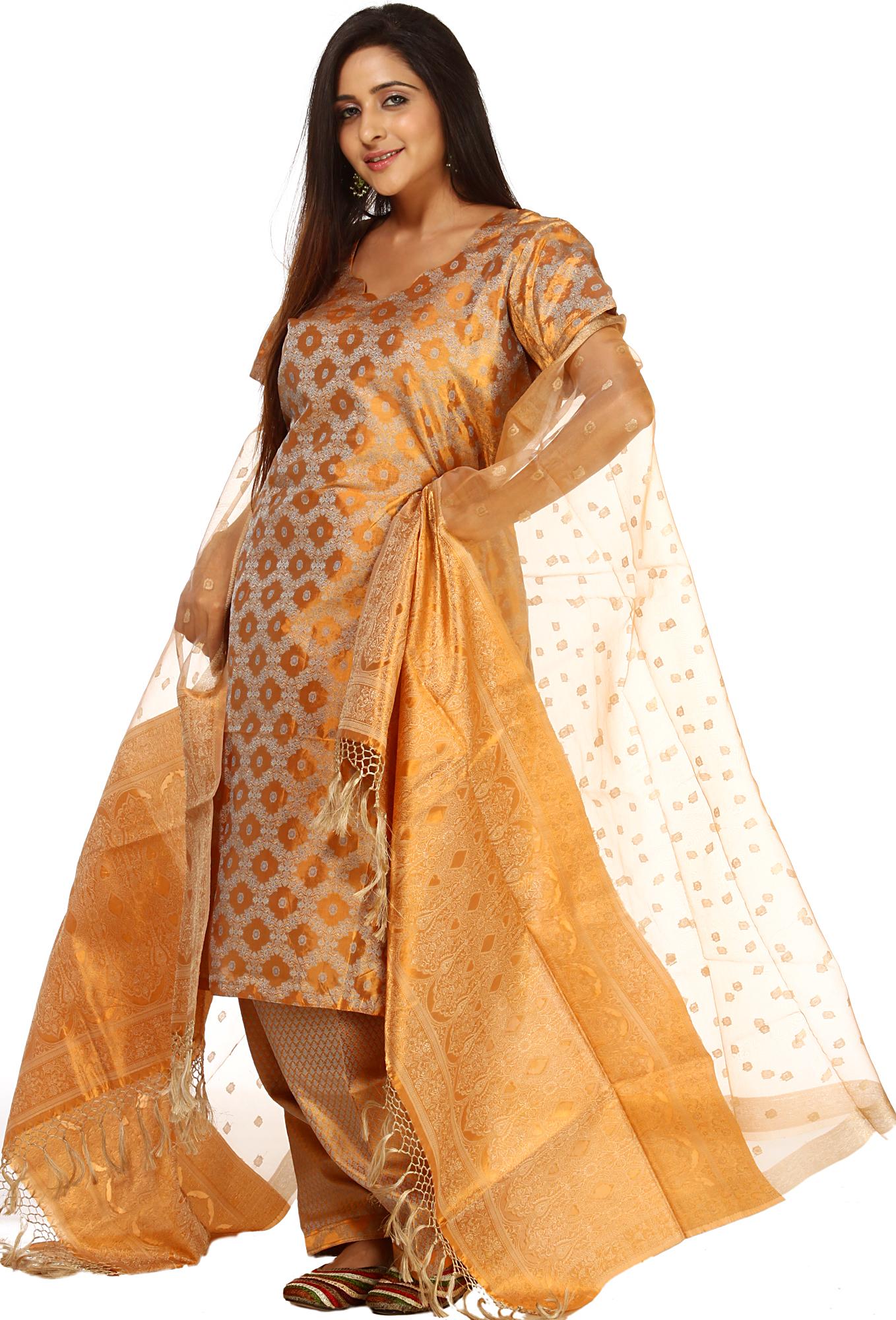 Golden Kora Salwar Kameez Suit With Banarasi Weave All Over